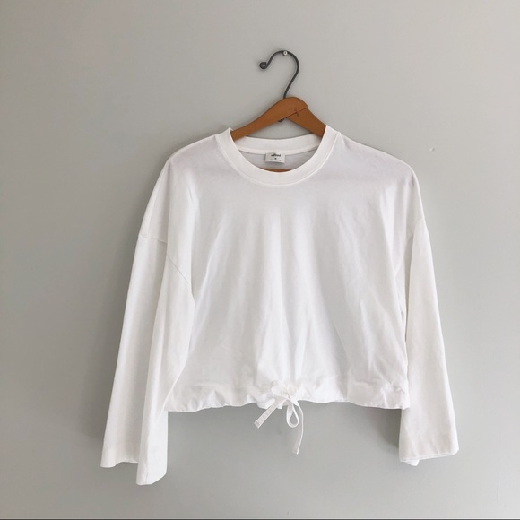 Aritzia Wilfred White Long Sleeve Top Size S